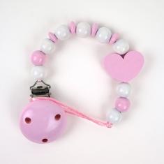 Cadenita de madera corazón rosa no personalizada