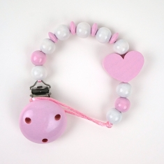 Wood chain pink heart not Personalized