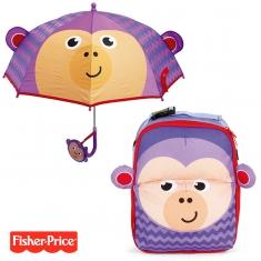 Pack ahorro Mochila + Paraguas 3D Fisher Price Mono