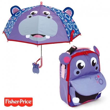 Pack ahorro Mochila + Paraguas 3D Fisher Price Hipopótamo