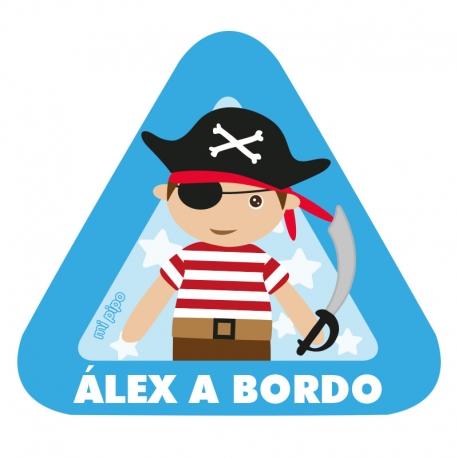 Pegatina Pirata a bordo para coche personalizado