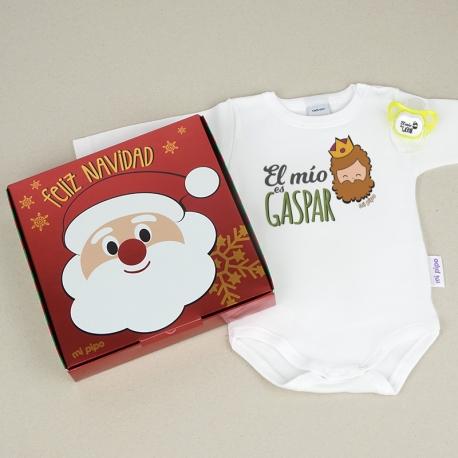 Cajita Navidad Body + Chupete Divertido El mío Gaspar