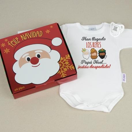 Cajita Navidad Body + Chupete Divertido Han llegado Los Reyes, Papá Noel, ¡estás despedido!