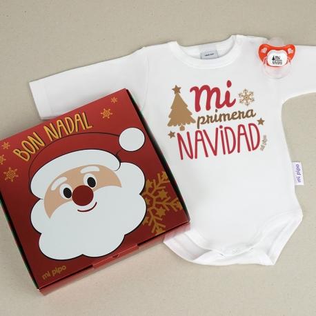 Cajita Navidad Body + Chupete Divertido Mi Primera Navidad Retro