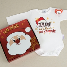 Cajita Navidad Body + Chupete Papá Noel, no te lleves mi chupete