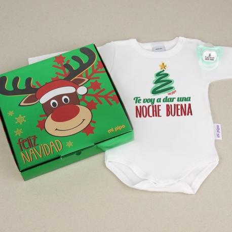Cajita Navidad Body + Chupete Divertido Te voy a dar una Noche Buena