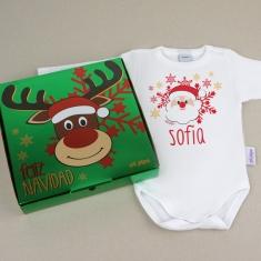 Babidu Body Navideño Personalizado Navidad Papá Noel con cajita de regalo