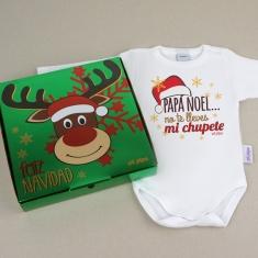Babidu Body Navideño Papá Noel no te lleves mi chupete con cajita de regalo