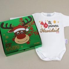 Babidu Body Navideño Mi Primera Navidad con cajita de regalo