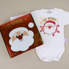 Babidu Body Navideño Feliz Navidad con Papá Noel con cajita de regalo