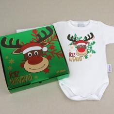 Babidu Body Navideño Feliz Navidad con Rudolf con cajita de regalo