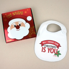 Babero Navideño All I want for Christmas is you con cajita de regalo