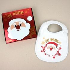 Babero Navideño Feliz Navidad con Papá Noel con cajita de regalo