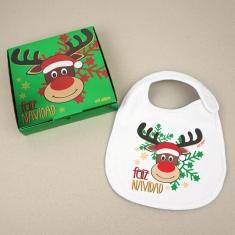 Babero Navideño Feliz Navidad con Rudolf con cajita de regalo