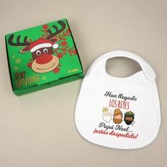 Babero Navideño Han llegado los Reyes Papá Noel...¡estás despedido! con cajita de regalo