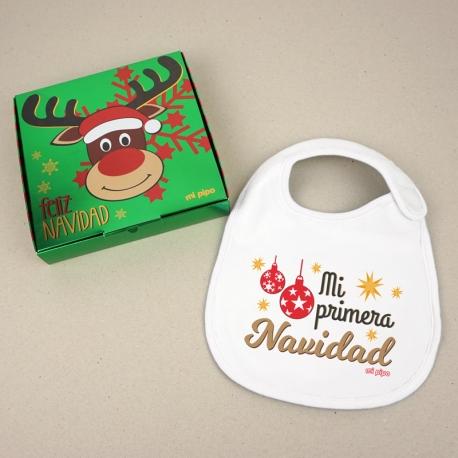 Babero Navideño Mi Primera Navidad Bolas con cajita de regalo