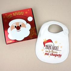 Babero Navideño Papá Noel no te lleves mi chupete con cajita de regalo