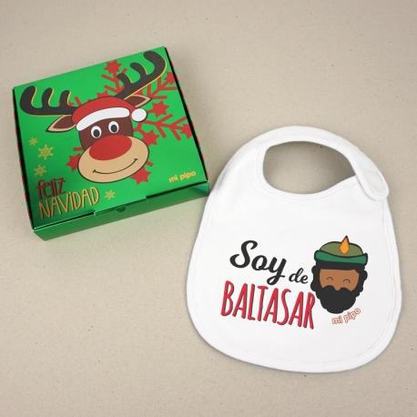 Babero Navideño Soy de Baltasar con cajita de regalo