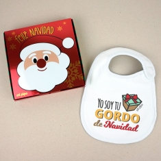 Babero Navideño Yo soy tu gordo de Navidad con cajita de regalo
