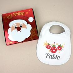 Babero Navideño Personalizado Navidad Bolas con cajita de regalo