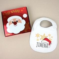 Babero Navideño Personalizado Navidad Gorro Papá Noel con cajita de regalo