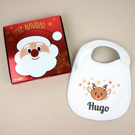 Babero Navideño Personalizado Navidad Reno con cajita de regalo