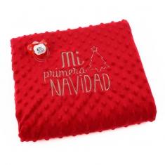 Manta Clásica + Chupete baby Rojo Mi Primera Navidad