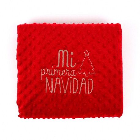Manta Clásica Roja Mi Primera Navidad