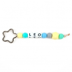 Keychain Simple Shape Star Blue Personalized