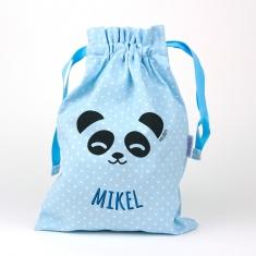 Saquito Panda Azul Personalizado