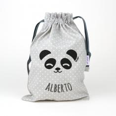 Saquito Panda Gris personalizado