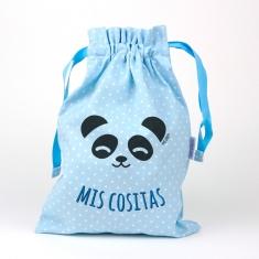 Saquito Panda Azul Mis Cositas