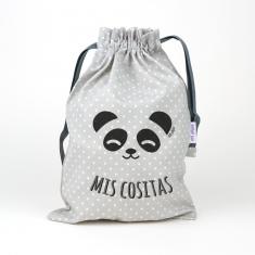 Saquito Panda Gris Mis Cositas