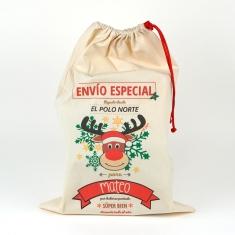 Saco Navideño para Regalos Reno Rudolph personalizado