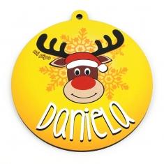 Bola Navidad decorativa Reno Rudolph amarilla personalizada