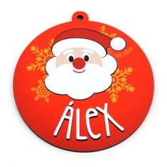 Bola Navidad decorativa Papá Noel roja personalizada