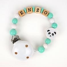 Cadenita de madera personalizada panda menta