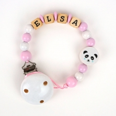 Cadenita de madera personalizada panda rosa