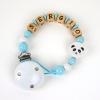Cadenita de madera personalizada panda azul