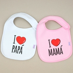 Pack 2 bibs love White and Pink +3M