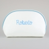 Toiletry Leather Bag White-Edging Blue Personalized