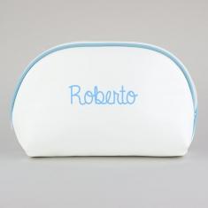Neceser Polipiel Blanco-Ribete Azul Personalizado