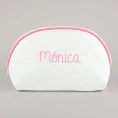Neceser Polipiel Blanco-Ribete Rosa Personalizado