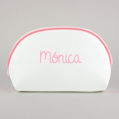 Toiletry Leather Bag White-Edging Pink Personalized