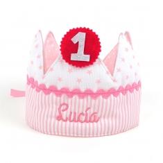 Corona Cumpleaños Rosa Handmade Personalizada