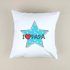 Cojín cuadrado piqué I love Papá con estrella azul
