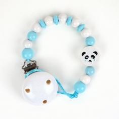 Cadenita de madera panda azul no personalizada